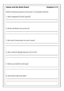 "Roald Dahl ""James and the Giant Peach"" worksheets"