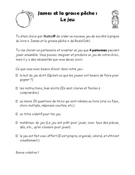 James et la grosse pêche Board Game Project - Novel Study (*FRENCH*)