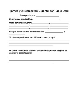 James y el Melocotón Gigante book report template