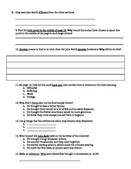 Jamestown Cannibalism High Interest PARCC Test Prep Literacy