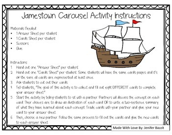 Jamestown Carousel: An Active and Engaging Review Activity for 5th-8th Grade