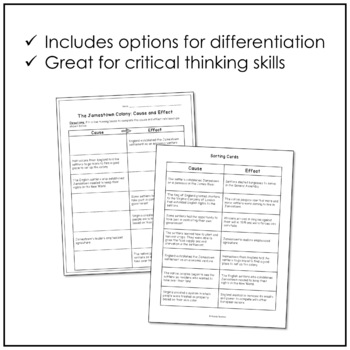 Jamestown Cause & Effect Sorting Cards and Worksheet (VS.3)