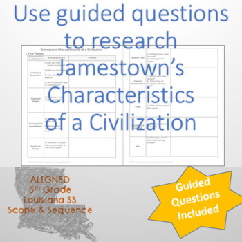 Jamestown: Characteristics of Civilization Guiding Questions & Graphic Organizer