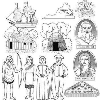 Jamestown colony clip art by illustration station tpt for Jamestown colony coloring pages