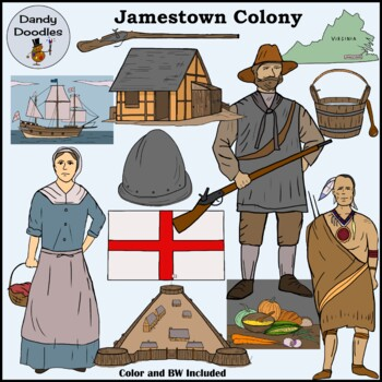 Jamestown Colony Clip Art by Dandy Doodles