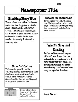 settlement brochure template - jamestown colony newspaper project by keep calm and teach