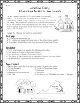 Jamestown Colony Project - Create an Informational Booklet for New Colonists