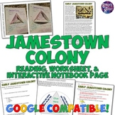 Jamestown Colony Reading, Worksheet, and Interactive Notebook