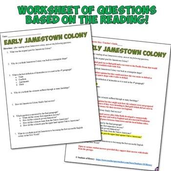 An English Settlement At Jamestown Worksheet Answers ...