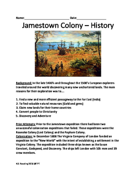 Jamestown Colony Virginia - History Facts Information Questions Review Vocab