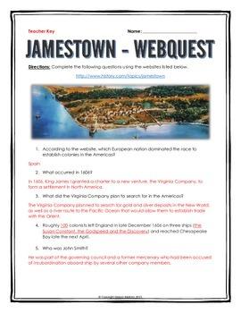 Jamestown Colony - Webquest with Key