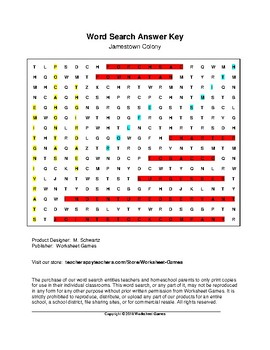 Jamestown Colony Word Search with Key (Grades 7-8)