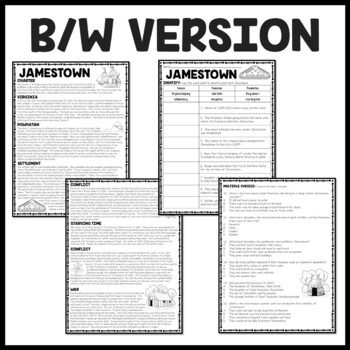 Jamestown Colony of Virginia Reading Comprehension Worksheet; Colonial America