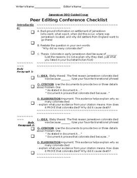 Jamestown DBQ Peer Editing Conference Checklist