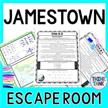 Jamestown ESCAPE ROOM Activity  Colonial Settlement & Starving Time