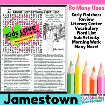Jamestown Activity: Jamestown Word Search (non-fiction, reading facts)