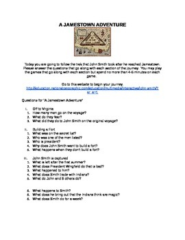 """Jamestown: Guided Activity for """"A Jamestown Adventure"""""""