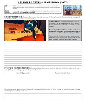 Jamestown / Colonial America Lesson - Powerpoint, Lecture, Primary Sources