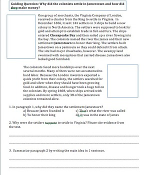 Jamestown Lesson w/ Guided Notes, Guided Reading, and Exit Ticket