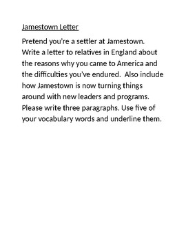 Jamestown Letter Writing Prompt