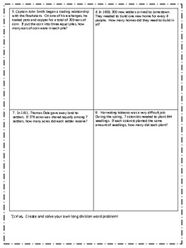 Jamestown Math- Long Division and Multiplication Story Problems