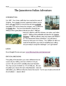Jamestown Online Adventure