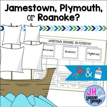 Jamestown Plymouth or Roanoke? Cut and Paste Sorting Activity