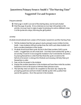 """Jamestown Primary Source - John Smith's """"The Starving Time"""" Activity"""