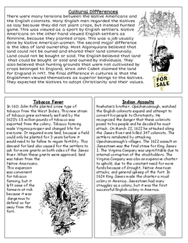 Jamestown Reading & Comprehension Questions