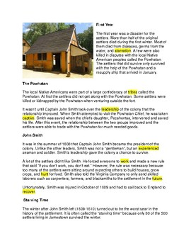 Jamestown Settlement - CLOZE reading
