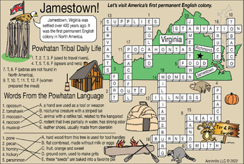 Jamestown Settlement and Powhatan Tribe Two-Page Activity Set