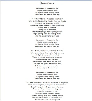Jamestown Song