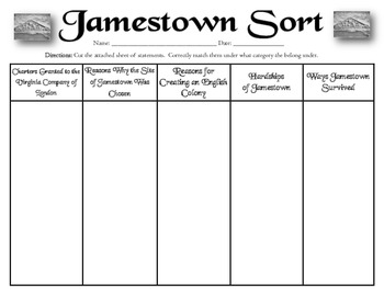 Printables Jamestown Worksheet jamestown sort vs 3a 3b 3c 3e 3f by the vibrant 3f