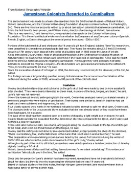 Jamestown Starving Time Informational Text Questions for Article (copy included)
