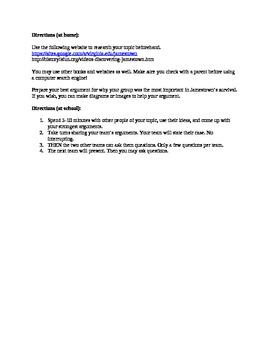 Jamestown Survival Debate Webquest