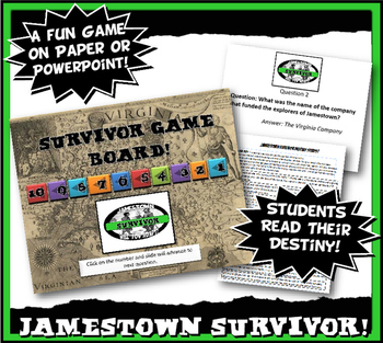 Jamestown Survivor Activity Set with Reading,Graph Lesson & Fun Game