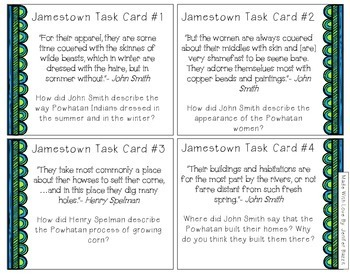 Jamestown Task Cards- 5th Grade and Higher