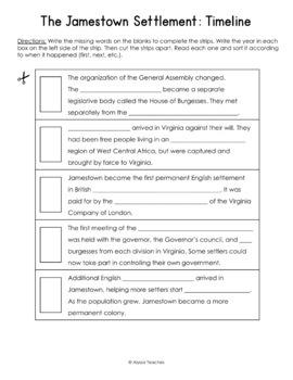 jamestown timeline worksheet vs 3 by alyssa teaches tpt. Black Bedroom Furniture Sets. Home Design Ideas