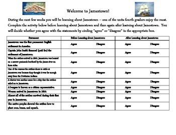 Jamestown Unit Anticipation Guide
