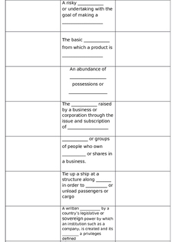 Jamestown VS.3 Vocabulary Handout