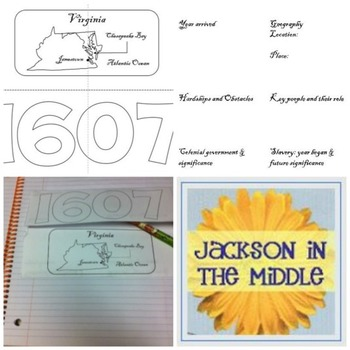 Jamestown, Virginia Foldable for Interactive Notebook