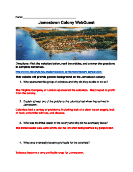 Jamestown WebQuest (With Answer Key)!