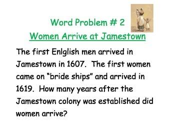 Jamestown & Werowocomoco Word Problems