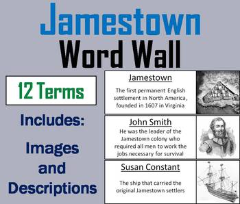 Jamestown Word Wall Cards