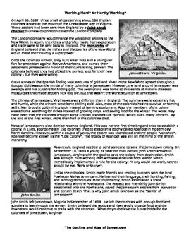 Jamestown : Working Hard? or Hardly Working?