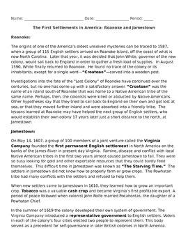 Jamestown and Roanoke Reading