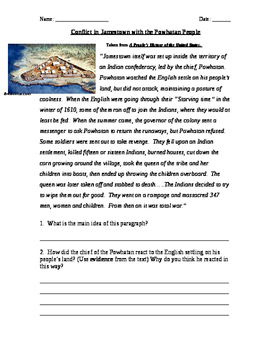 Jamestown and the Powhatan People Reading Activity
