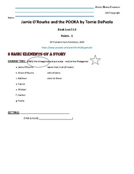 Jamie O'Rourke and the POOKA Student Activity booket Reading level 3.9