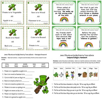 Jamie O'Rourke and the Big Potato (St. Patrick's Day) ~ Vocabulary Companion