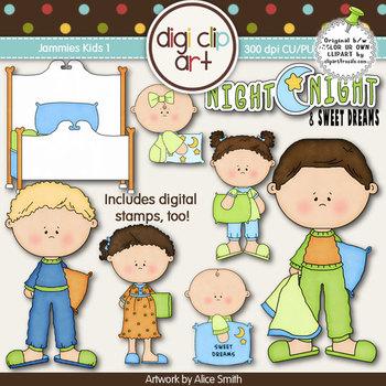 Jammies Kids 1-  Digi Clip Art/Digital Stamps - CU Clip Art